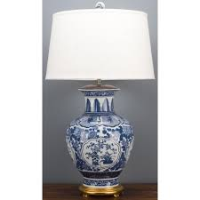 blue and white oriental classic lamp with vase motif and gold base