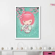 poster chambre bébé poster déco chambre bébé kokeshi pastel kawaii un grand marché