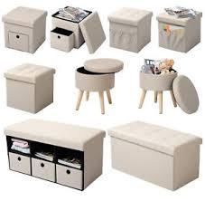 coffre siege rangement tabouret siège pliable pouf cube coffre boîte de rangement crème