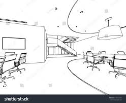 interior outline sketch drawing perspective space stock vector