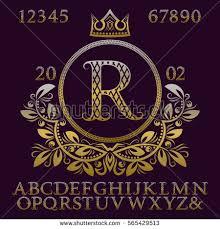 Initial Monogram Fonts Golden Patterned Letters Initial Monogram Coat Stock Vector