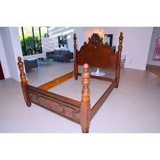 ralph lauren four poster carved wood queen size bed frame chairish