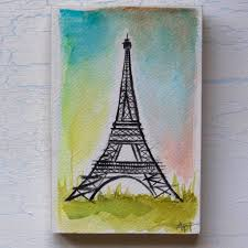 eiffel tower watercolor mounted on 5
