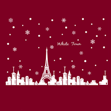 popular white window decal buy cheap white window decal lots from pvc removable wall stickers white town christmas poster eiffel tower snow glass window decal decoration vinyl