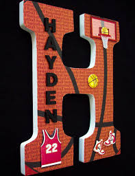Appealing Letter K Wall Decor Sports Basketball Wood Letters Wall By Cathyscraftycovers