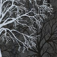 black wallpaper with silver trees cbaarch