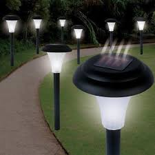 8 pc outdoor solar powered led garden lights landscape path light