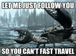 Travel Meme - let me just follow you so you can t fast travel you cannot