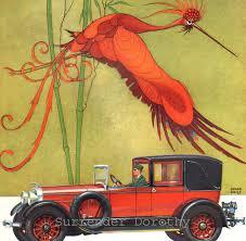 lincoln touring car advertisement 1926 art deco color