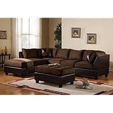 leather and microfiber sectional sofa amazon com poundex bobkona winden blended linen 3 piece reversible