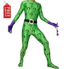 Riddler Halloween Costume Aliexpress Buy Green Riddler Costume Batman Cosplay