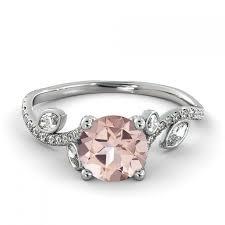 morganite engagement ring white gold 1 00 ct 5mm leef pink morganite filigree engagement ring