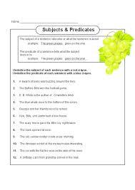 all worksheets subject predicate worksheets printable