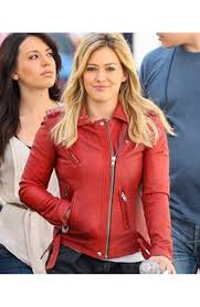 biker jacket women hilary duff kelsey younger jacket red leather biker jacket for