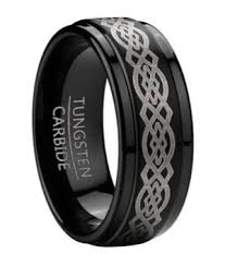 s black tungsten wedding band with celtic knot design