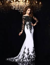 popular long sleeve evening dress black and white buy cheap long