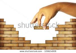 building a house building brick wall build house stock illustration 109624808