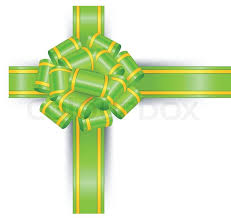 green gift bow green bow on white background gift the isolated object vector