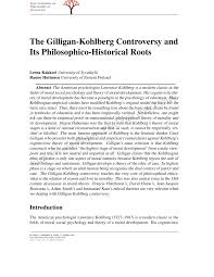 the gilligan kohlberg controversy and its philosophico historical