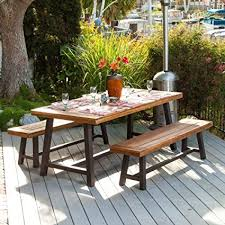 picnic table dining room amazon com bowman wood outdoor picnic table and benches