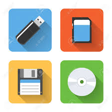 Storage Devices by Flat Storage Device Icons Vector Illustration Royalty Free