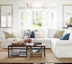 pottery barn living room for a transitional living room with a