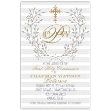 communion invitations framed by branches gold cross grey communion invitations