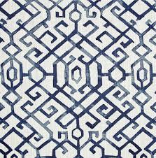 ships same day blue white geometric fabric modern blue trellis
