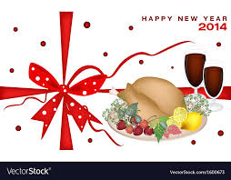 dinner and a gift card new year gift card with christmas dinner vector image