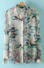 floral chiffon blouse blue sleeve floral chiffon blouse sheinside com my style
