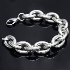 mens silver bracelet chain images Wholesale retail 23cm 17 5mm 69 5g new stainless steel silver JPG