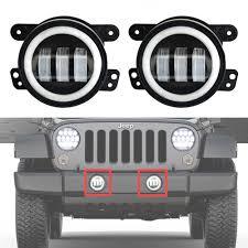halo jeep wrangler amazon com ausi pair 4 inch round led fog headlights white halo