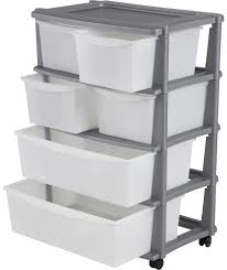 buy 6 drawer plastic wide storage tower unit silver at argos co