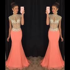 stunning high neck crystal prom dresses 2017 mermaid long chiffon