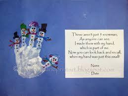 handprint snowman with poem footprint winter and snowman