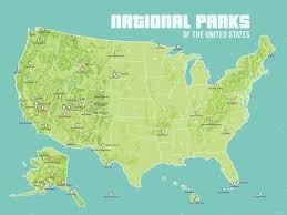 map us national parks us map of national parks 0436 usa national parks map poster green