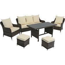 Dining Patio Furniture Sets - sunnydaze veria 6 piece rattan sofa dining patio furniture set