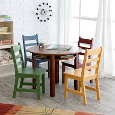 Round Dining Table And Chairs For 4 Lipper Childrens Walnut Round Table And 4 Chairs Hayneedle