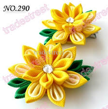 Flower Clips For Hair - two layer kanzashi flower clips badge reel hair clips baby