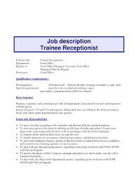 receptionist job description resume receptionist job description