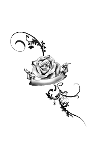 swirls grey rose and banner tattoo designs photos pictures and