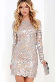 dress the population grace dress silver sequin dress long