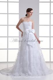 Wedding Dresses With Bows Allens Bridal Organza Sweetheart Neckline A Line Sweep Train