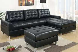 Classic Sectional Sofa Modern Classic Black Bonded Leather Sectional Sofa With Reversible