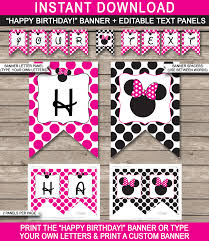 minnie mouse party banner template birthday banner editable
