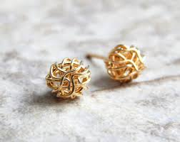 gold ear studs gold stud earrings etsy