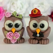 owl wedding cake topper custom firefighter owl bird wedding cake toppers