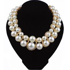 beaded pearl necklace images Artificial double layers pearl necklace torques bead necklace jpg