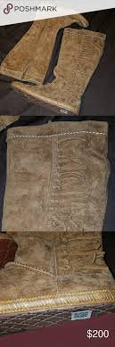 ugg s mammoth boots uggs mammoth knotted fringe knee high boots knee high