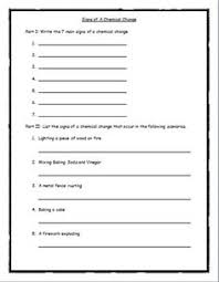 physical and chemical change worksheet matter pinterest